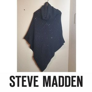 Steve Madden Cowl Sweater Poncho Sequin